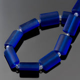 12 Sea glass Royal blue rectangle pillow beads, 14 x 10mm