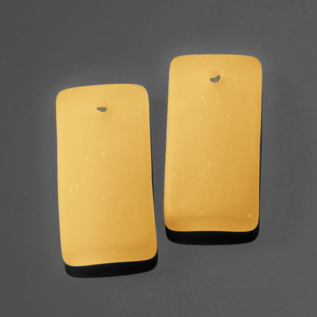 2 Cultured Faux Sea Glass Bottle-Curved Earring Rectangle Pendants, 22 x 11mm, Saffron