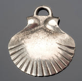 Large cast Scallop shell pendant in antique silver, 32mm