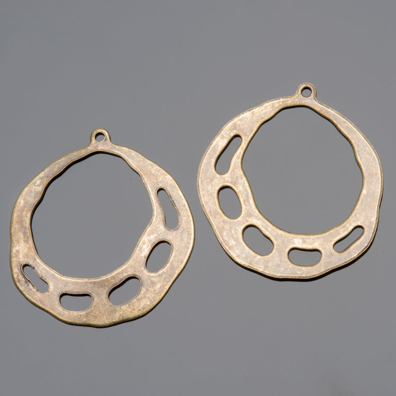 2 Vintage look oxidized brass earring pendants, 28 x 31mm