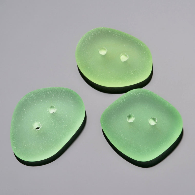 3 Etched glass faux Sea Glass buttons, 21 x 16mm, Peridot