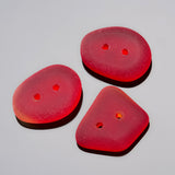 3 Etched glass faux Sea Glass buttons, 21 x 16mm, Cherry Red