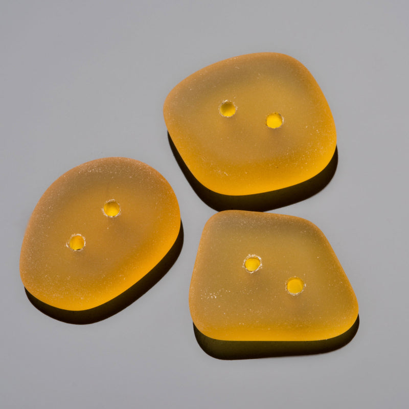 3 Etched glass faux Sea Glass buttons, 21 x 16mm, Sun Yellow