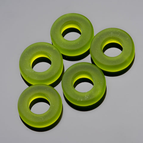 5 Etched glass faux Sea Glass buttons, 13 x 4mm, Olive green