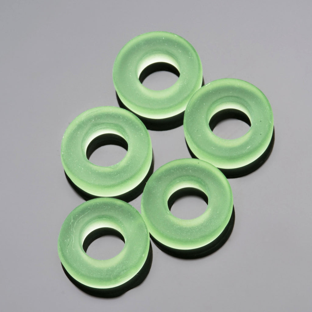 5 Etched glass faux Sea Glass rings, 13 x 4mm, Peridot