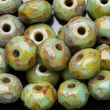 30 Light green Picasso firepolished Czech glass rondelle donut beads, 5 x 3mm