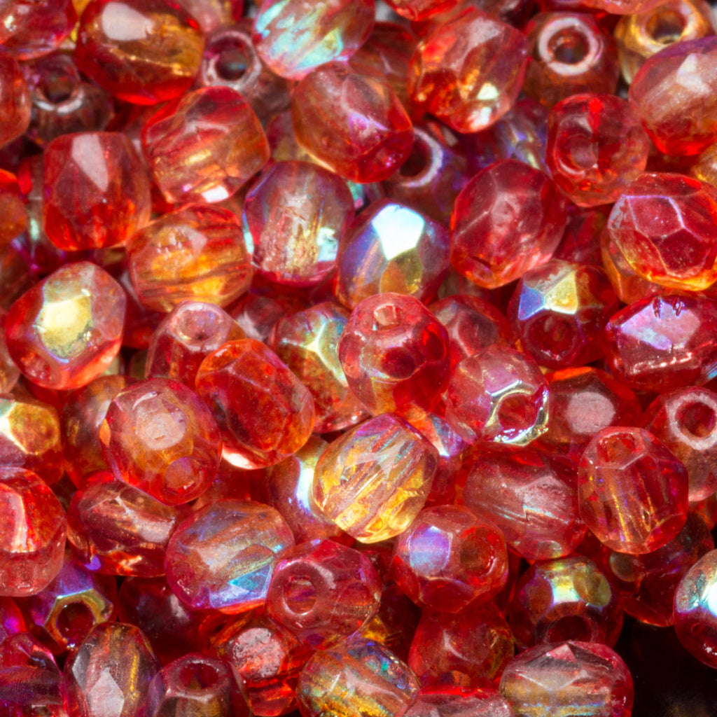 3 Grams or 100 beads, Raspberry AB 3mm Czech firepolished beads