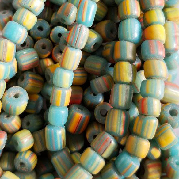 8 Inches, 3.5 - 6mm Cyan multi stripe Indonesian glass barrel beads, 40 beads