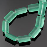 12 Cultured Faux Sea Glass Puffed Rectangle Beads, Seafoam, 14 x 10mm