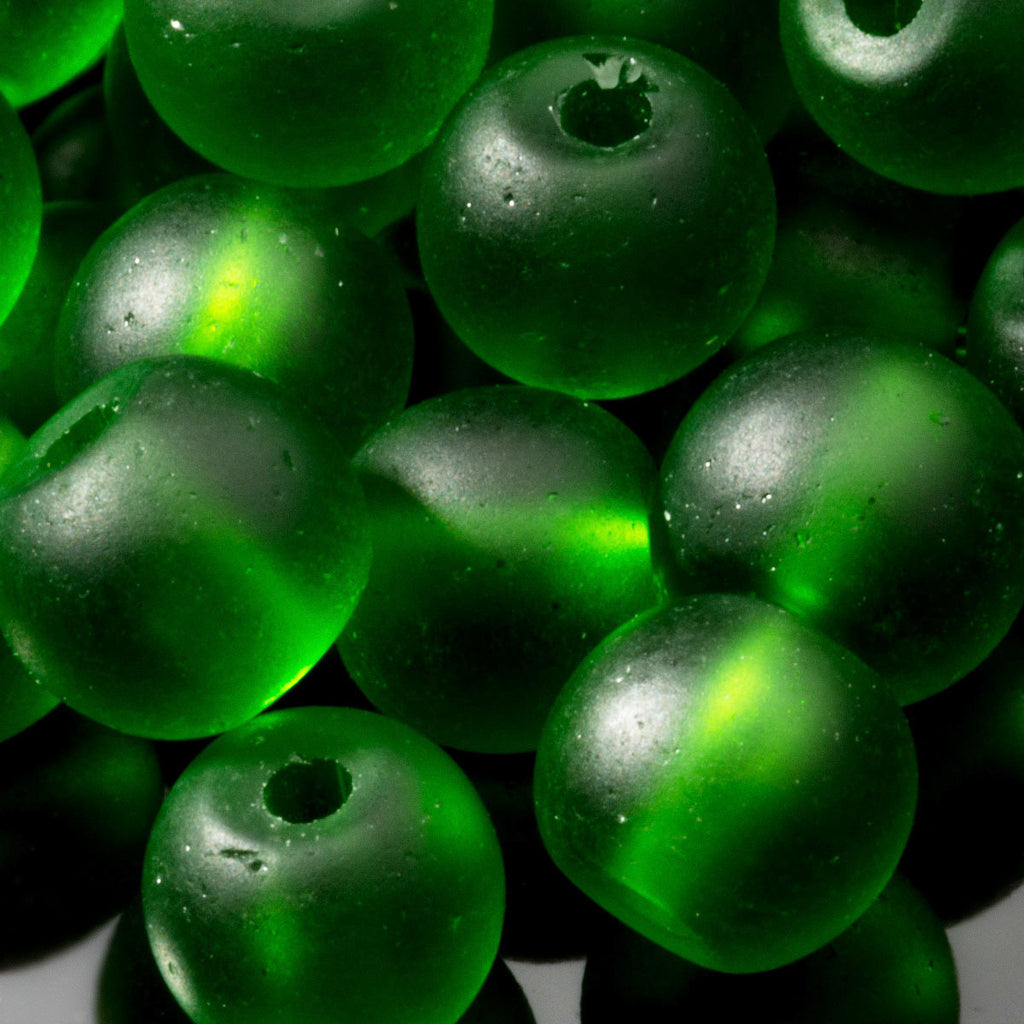One Strand of 48, Cultured Faux Sea Glass Round Beads, Shamrock, 4mm