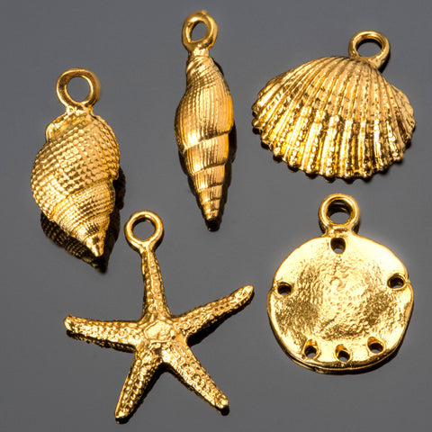 24k gold plated cast sea shell charm mix, conch shells, starfish, sand dollar and large clam, #FB