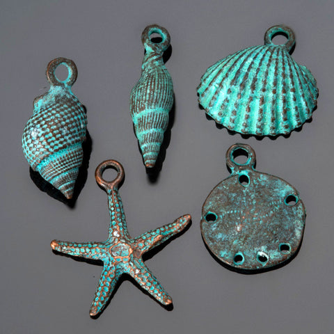 5 PC Green patina sea shell charm mix