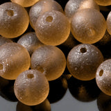 One Strand of 32 Cultured Faux Sea Glass Round Beads, Smoky Quartz, 6mm