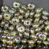 100 Transparent Green Luster rondelle spacers, 4mm