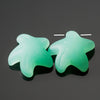 2 Cultured Faux Sea Glass Top Side Drilled Starfish Pendants, Opal Yellow, 20 x 7mm