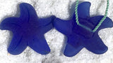 2 Cultured Faux Sea Glass Starfish Pendants or Buttons, Peridot, 20 x 8mm