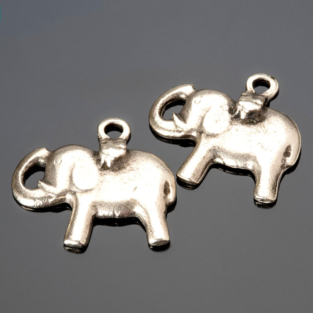 2 or 4 Cast Mykonos Antique Silver Elephant Charm Pendants, 24mm, Hole 2.5mm