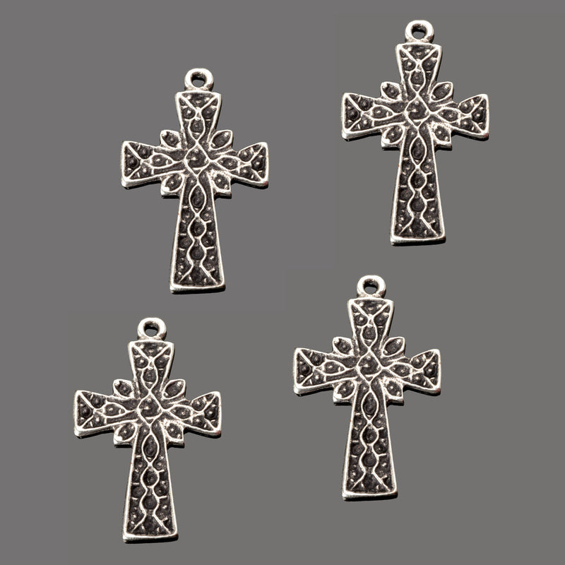 8 Cast etched antique silver lightweight cross charms or pendants, 25 x 17mm