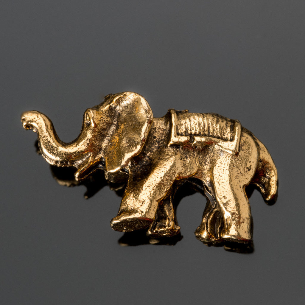 Antique gold pewter double sided elephant bead, 20 x 10mm