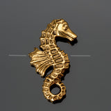 CLEARANCE Antique gold pewter double sided seahorse bead, 20 x 12mm