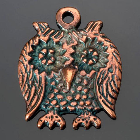 CLEARANCE Cast owl pendant in antique bronze, 23 x 28mm