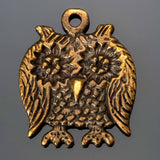 CLEARANCE Cast Screech owl pendant in antique brass, 23 x 28mm