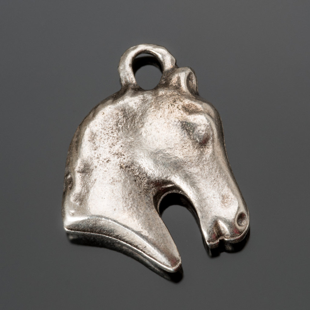 Cast Mykonos Antique Silver Horse Charm, 18mm, Hole 3mm