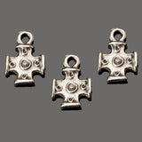 3 Cast antique silver tiny cross charms, 16 x 11 x 5mm