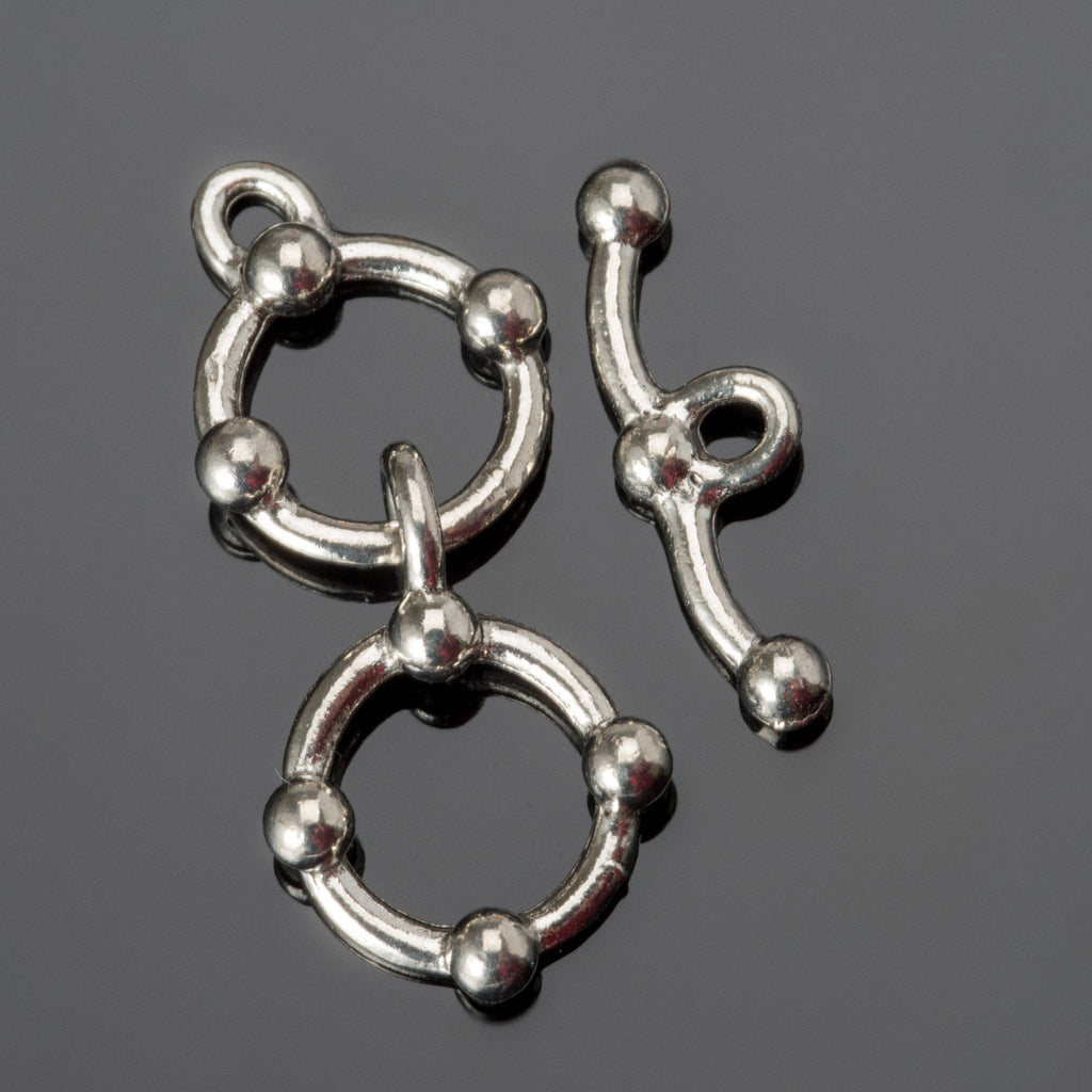 Antique pewter two-ring extender toggle clasp, 30 x 20mm