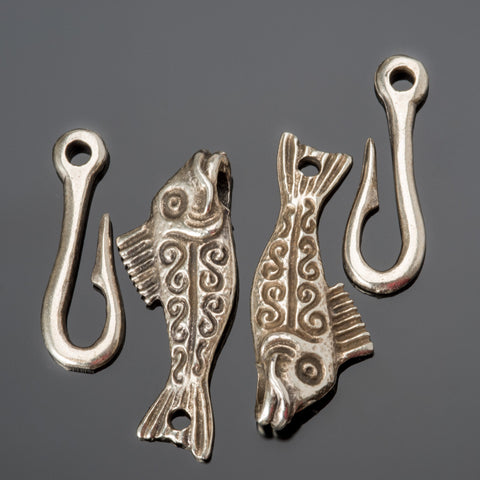 2 Cast antique silver lead-free fish clasps, 50mm