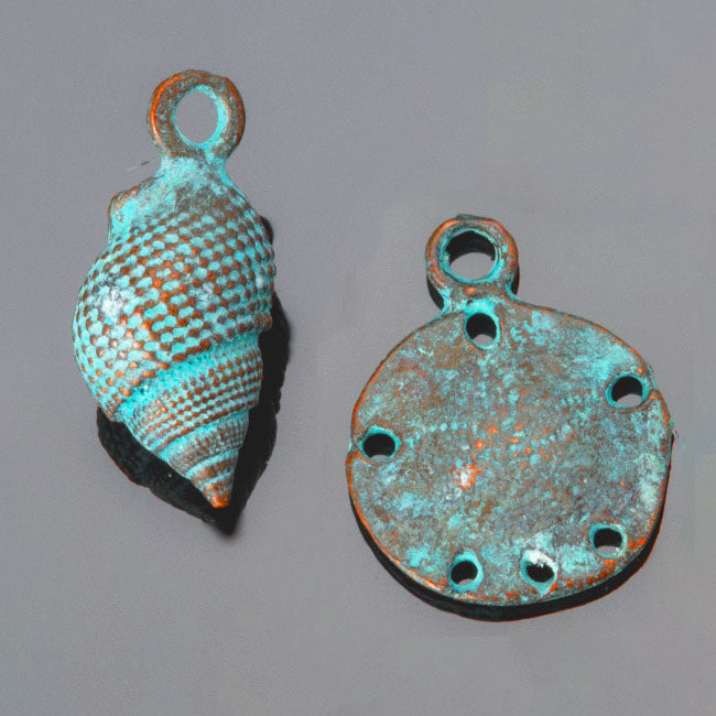 2 PC Set, Mykonos Green Patina Large Conch Whelk and Sand Dollar Charms, 23mm, Hole 2mm