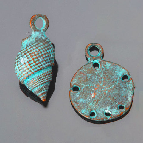 2 PC Set Green patina large conch shell and sand dollar charms, 23mm