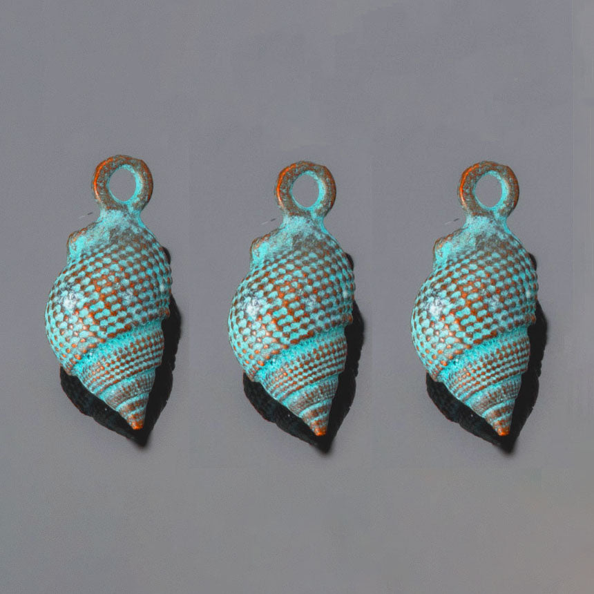 3 Cast Green patina large conch shell charms, 23 x 11mm