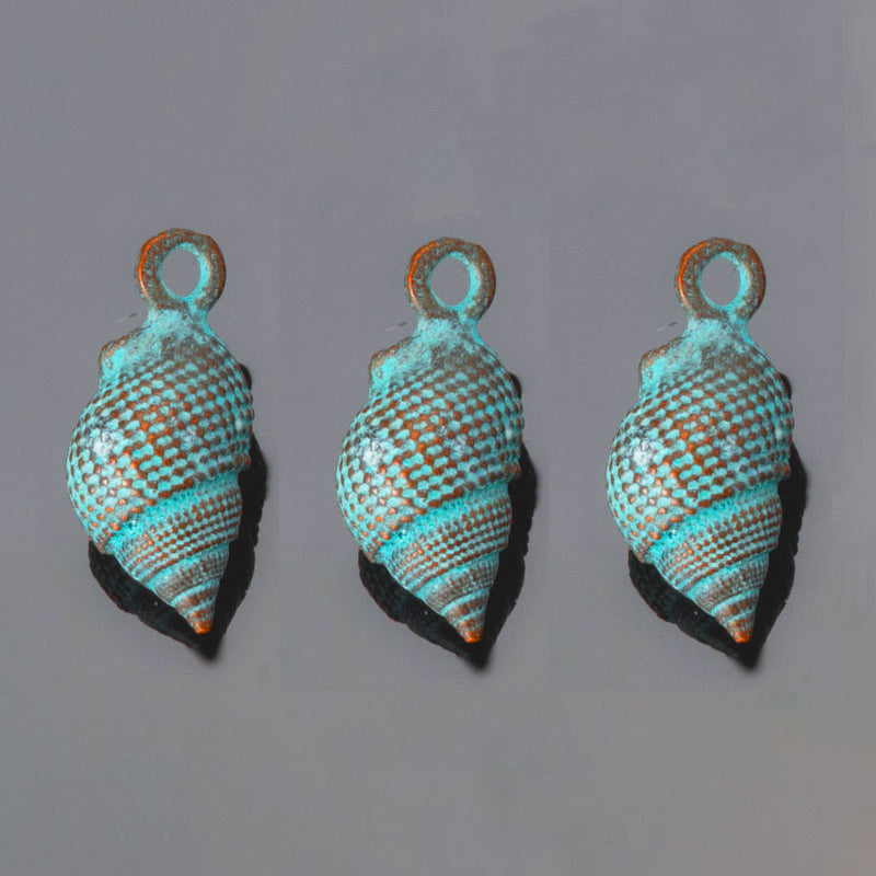 3 Cast Green Patina Whelk Conch Shell Charms, 23 x 11mm, Hole 2mm