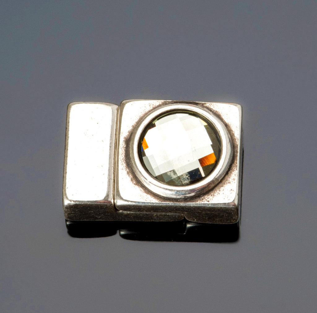 Black diamond Swarovski crystal magnetic clasp, Silver Zamak, Hole: 10 x 2mm