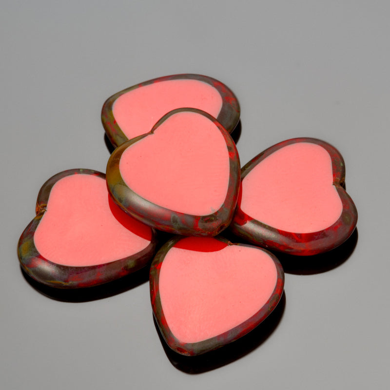 5 Red Picasso Czech Glass Heart Table Cut Beads, 15 x 3mm