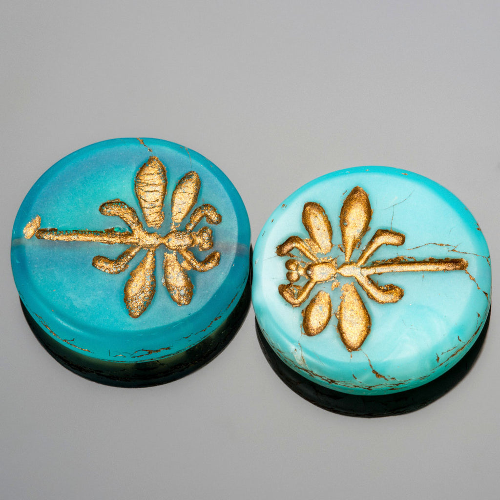 6 Opal Aqua Old Patina Dragonfly Coin Beads, 23mm