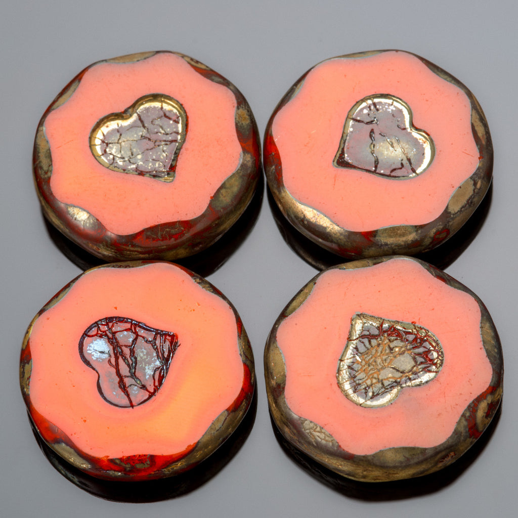 4 Orange Red Heavy Picasso Heart Beveled Coin Beads, 20mm