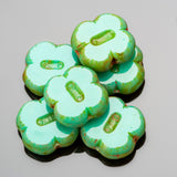 CLEARANCE 10 Turquoise Picasso clover table cut Czech glass beads, 12 x 4mm