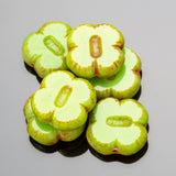 CLEARANCE 10 Green Picasso clover table cut Czech glass beads, 12 x 4mm