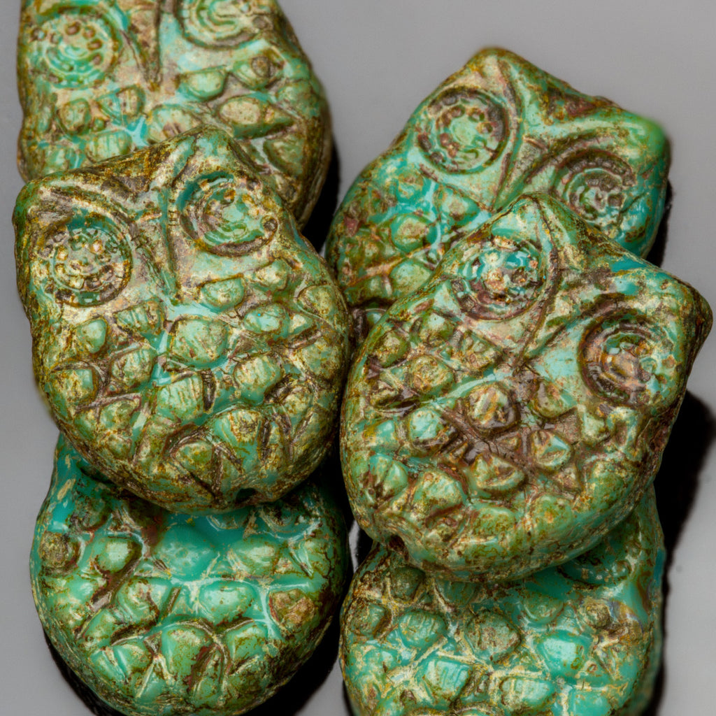10 Turquoise Heavy Picasso Czech glass horned owl, 18 x 15mm