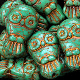 6 Turquoise with bronze wash Czech glass owl beads, 18 x 11mm