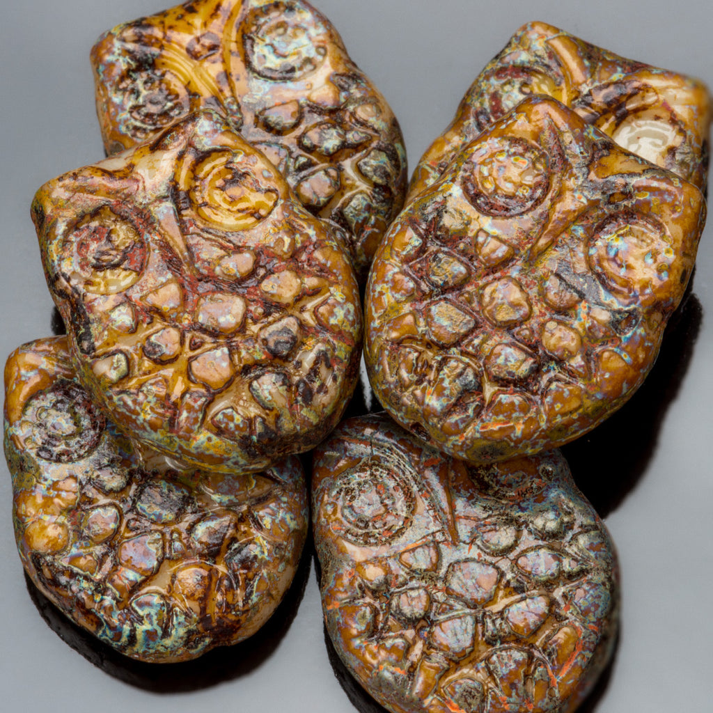 15 Heavy Picasso Czech glass horned owl, 18 x 15mm
