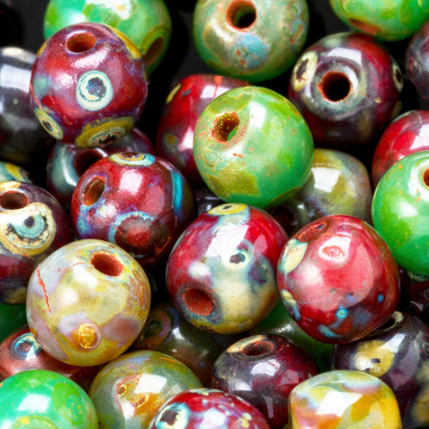 50 Round green and red druk Picasso Czech glass beads, 4mm