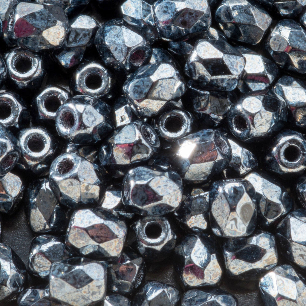 CLEARANCE 50 Charcoal luster Czech glass firepolished beads, 3mm