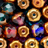 25 Dark multicolor mix with copper firepolished donut beads, 5 x 4mm