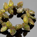 CLEARANCE 25 Czech glass translucent green antiqued Picasso mini leaves, 11 x 7mm