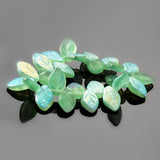 25 Czech glass frosted translucent aqua green AB mini leaves, 11 x 7mm