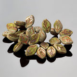 CLEARANCE 25 Czech glass green Picasso mini leaves, 11 x 7mm