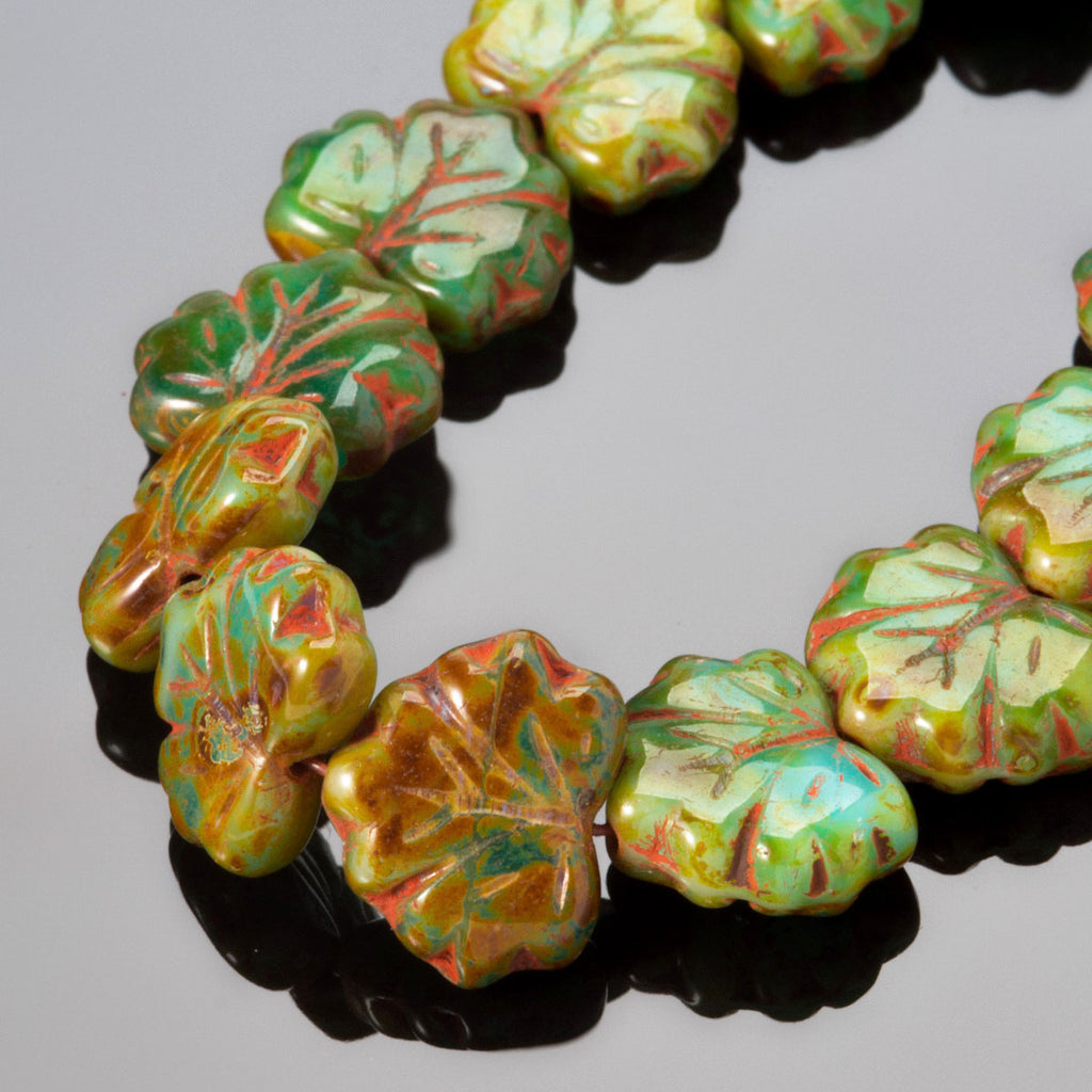 20 Czech glass Green Picasso maple leaves, 13 x 10mm